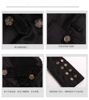 Korean Womens Double Breasted Long Trench Coat 0784