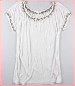 NWT DKNY Womens Short Sleeve Peasant Top White Sz LARGE Ret $45