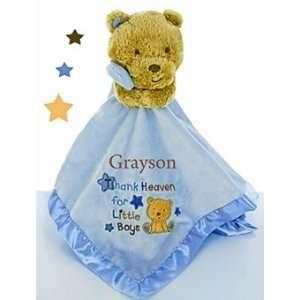 Personalized Baby Blanket Buddy Teddy Bear   Blue Baby