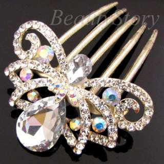1pc rhinestone crystal flower French twist hair comb