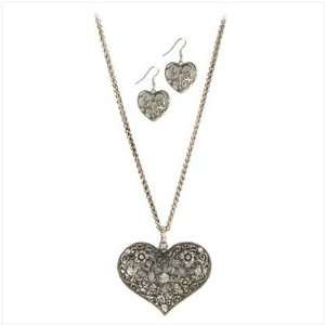 Lovers Lace Heart Fashion Jewelry Set Earrings Necklace