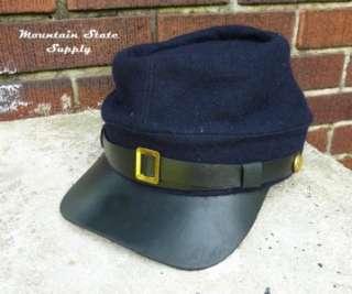 US Civil War Reenactors Union North Army Navy Blue Wool Kepi Hat Cap