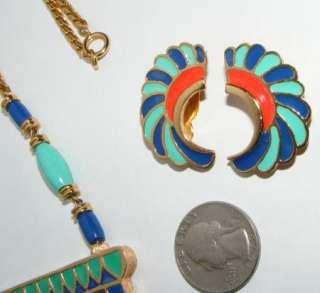 Vintage Hattie Carnegie Egyptian Revival Enamel Necklace Earrings SET