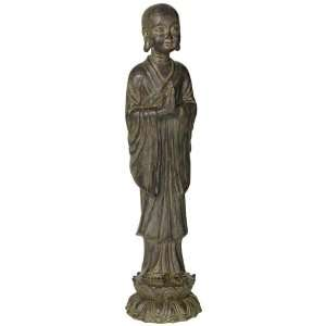 Weathered Stone Standing Buddha Sculpture