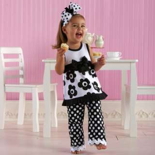 Tres Jolie Pleated Shift Dress & Bell Bottoms (2T 3T)