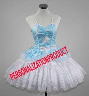 Sweet Gothic Lolita blue Cosplay Hello Kitty Pattern 4 Ballroom Corset