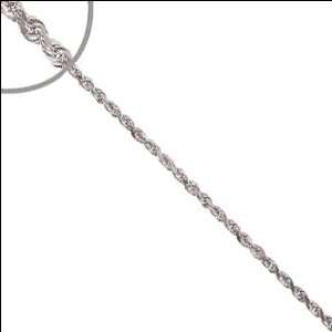14k White Gold, Facetted Rope Chain Necklace 2.5mm Wide
