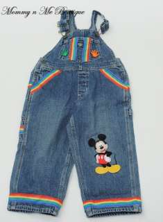 Boys Custom Boutique Resell Disney Mickey Mouse Denim Overalls 3 3T