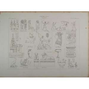 1870 Egyptian Art Pharaoh Gods Sphinx Egypt Lithograph
