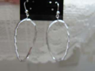 14K WHITE GOLD BAMBOO DANGLE EARRINGS NEW 2 1/4 INCH