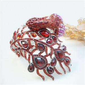 Peacock Bird Bracelet Cuff Bangle Red Swarovski Crystal