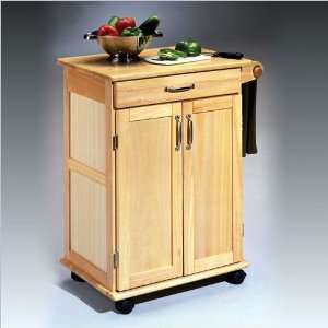 Styles Furniture Paneled Door Kitchen Cart with Towel Rack in Natural