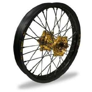 Pro Wheel Supermoto Rear Wheel Set   17x4.25   Black Rim/Gold Hub 27