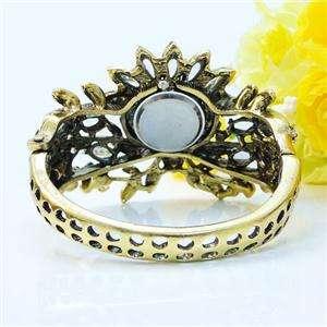 Retro Flower Watch Bangle Cuff Multi Swarovski Crystal