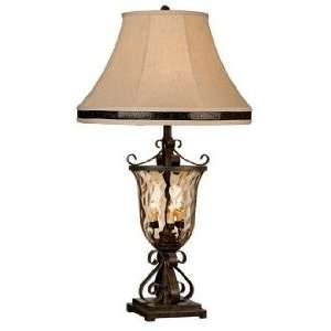 Glass Urn Night Light Table Lamp with Gallery Shade