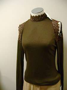 Kay Celine Long Sleeve Lace Open Shoulder Top M NWT