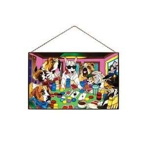 Dogs Playing Cards   Art Glass Panel