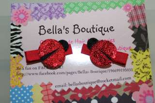 Set 2 Red Lady Bug Sequin Baby Boutique HAIR Bow Clips