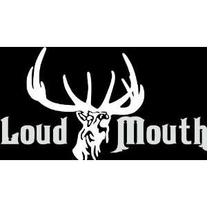HNT5 (71) 8 white vinyl decal loud mouth deer head antlers  die cut
