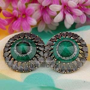 Vintage Gorgeous style Women Lady Cone Shape Dark Green Stone Earrings