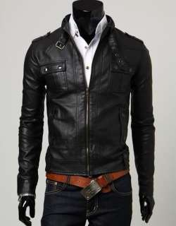 NWT Mens Slim Top Designed Sexy PU Leather Short Jacket E402 2color 4
