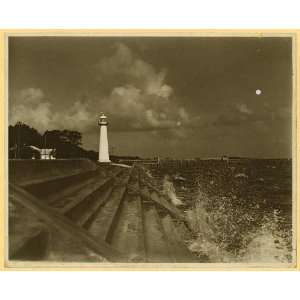 Lighthouse,Biloxi,Mississippi,MS,Harrison County,c1920