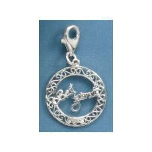 Sterling Silver BEST FRIENDS Charm with Lobster Clasp, 1.375 in long