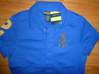 Lauren Rugby Womens Beaded Skull Royal Blue Polo Shirt XS