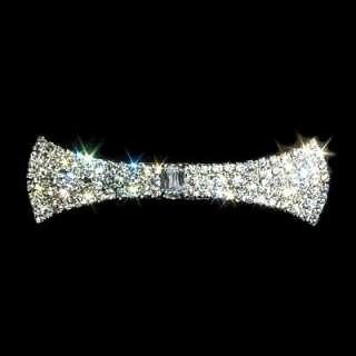 Swarovski Crystal Rhinestone LG Flared Bow Tie Barrette