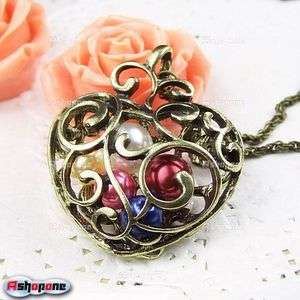 Retro Vintage Bronze Hollow Out Carving Heart Beads Pendant Necklace