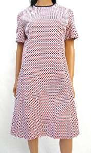 White Blue Polka Dot Disco Dress M L Short Sleeve Costume Ovals