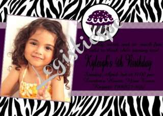 Zebra Cupcake Invitations