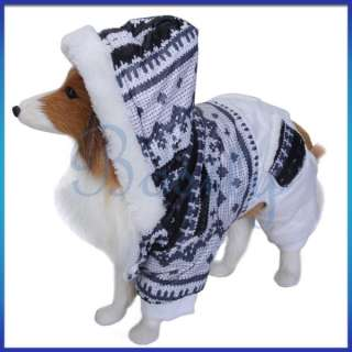 Pet Dog Hooded Winter Jumpsuit Coat Jacket Christmas Holiday Warm