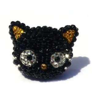 Chococat Hello Kitty Black Swarovski Crystal Ring