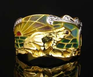 Masriera Art Nouvea Diamond & Enamel 18K Gold Frog Ring