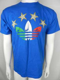 ADIDAS ITALY WORLD CUP SOCCER NEW Mens Royal Blue Shirt Size S M L