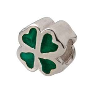 Zable Clover, Green Irish Celtic Sterling Silver Charm