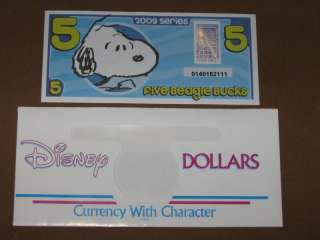 2009 $5 BEAGLE BUCK + DISNEY DOLLAR ENVELOPE NEW