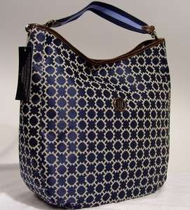 NEW Tommy Hilfiger TH Logo Blue Hobo Handbag Tote Bag Purse LARGE