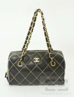 Chanel Black Leather Quilted Gold Chain Handbag W Box