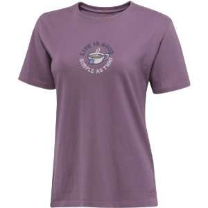 Life is Good Womens Crusher Tee, Simple as Cup, Plum, X