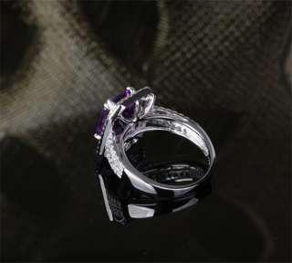 AMETHYST & DIAMOND 5.11ct   14K WHITE GOLD Pave Engagement RING