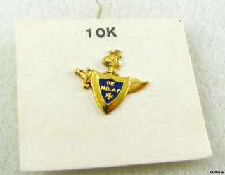 DEMOLAY   Vintage 10k Gold Masonic Lapel PIN BADGE