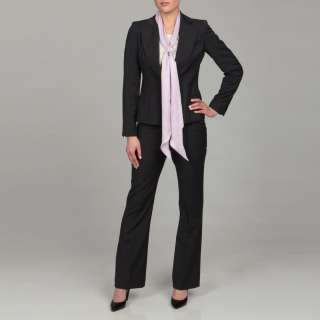 Anne Klein Womens Pink Scarf Black Pant Suit