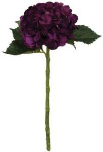 Set 12 Artificial Hydrangea Stem Flower Dark Plum Purple Silk Floral