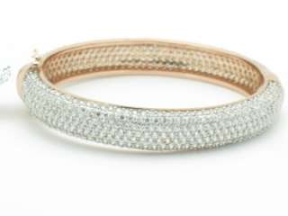 18K ROSE GOLD DIAMOND SET PAVE ETERNITY BANGLE BRACELET