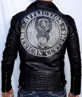 Affliction Black Premium REBORN Mens Leather Jacket   NEW   10OW464