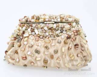 Mary Frances Light Gold Satin Beaded Jewel Clasp Evening Bag NEW