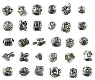 30 Assorted tibetan silver beads fit charm bracelet