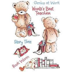 Popcorn the Bear School Days Unmounted Rubber Stamp Sheet Set